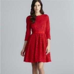 TAYLOR LIPSTICK RED FLORAL LACE DRESS 14